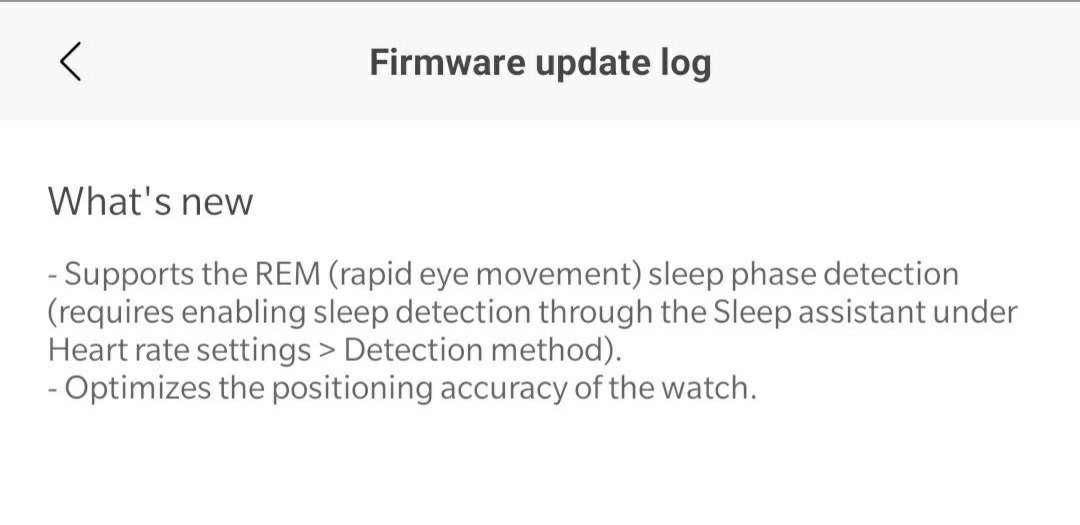 The update brings REM sleep detection to the original Amazfit