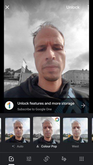 A Google One subscription is required to use Color Pop on photos that lack depth information