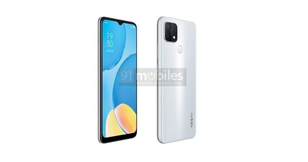Oppo A15s leak rendering shows color options, water drop notch