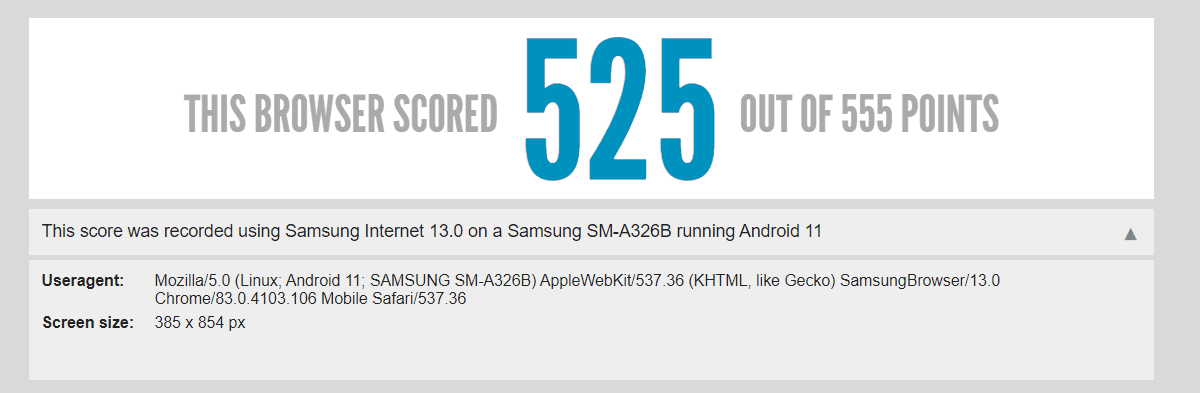 Samsung Galaxy A325G comes out of the box with Android 11