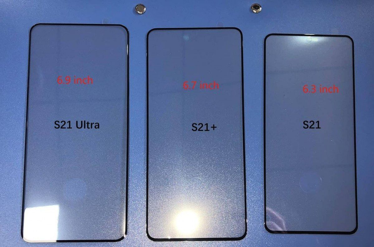 The front panel of Samsung Galaxy S21 family is leaking, this is how it looks side by side
