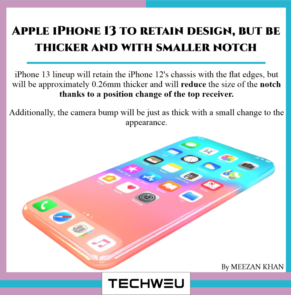 Apple iPhone 13 to retain design, but be thicker and with smaller notch