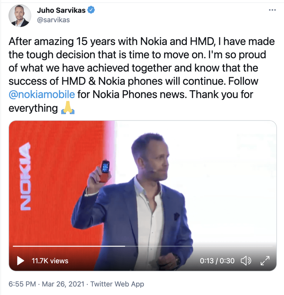Chief product officer Juho Sarvikas is leaving HMD Global and Nokia -Techweu