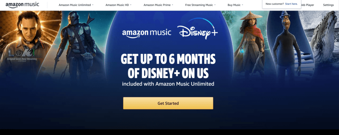 Amazon offers up to 6 months of Disney plus for free with an Amazon Music Unlimited subscription