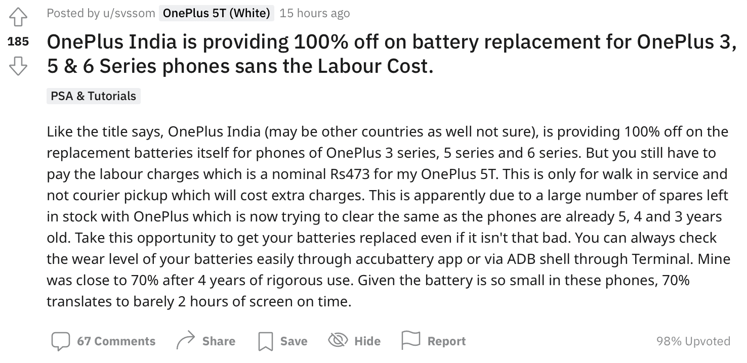 Free Battery Replacement for OnePlus 3, 5, 5T, 6, or 6T battery replacement in India, Do you own one?